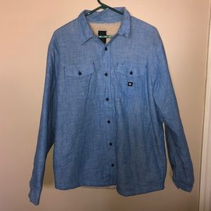 DC Blue Tan Sherpa Lined Button Up Shirt Large
